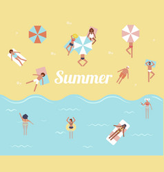 people in sea hello summer swimming pool vector image