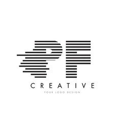 Pf p f zebra letter logo design with black and vector