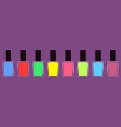 pink blue green yellow nail polish varnish icon vector image