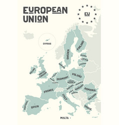 Poster map of the european union with country vector
