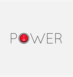 power logo with button on white background vector image