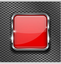 Red glass 3d button with metal frame on perforated vector