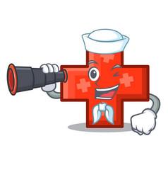 Sailor with binocular cross mascot cartoon style vector
