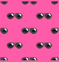 seamless pattern with black sunglasses icons vector image