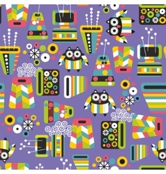 Seamless pattern with owls and vases vector