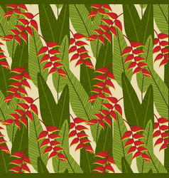 seamless patternheliconia flower on green vector image
