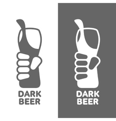 Set beer logos simple gray labels vector image