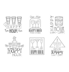 Set of monochrome emblems for cocktail bar vector