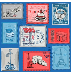 Set of Stamps - Vintage Paris and France vector image