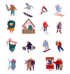 set people characters holiday scenes vector image