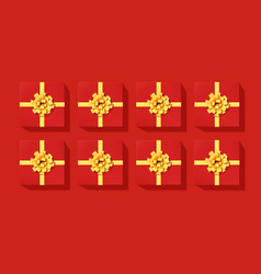 set red gift boxes with golden ribbon and bow vector image