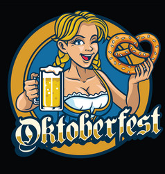 Sexy bavarian girl hold the pretzel and beer vector