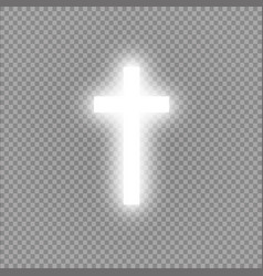 Shining white cross on transparent background vector