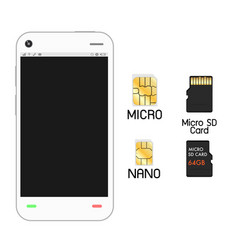 smartphone with sim card and micro sd card vector image