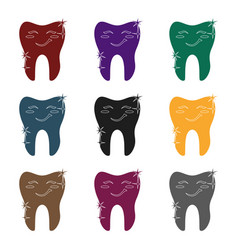 smiling tooth icon in black style isolated on vector image