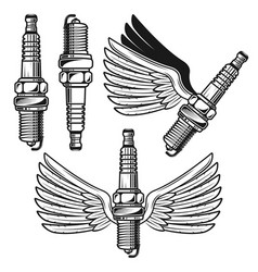 Spark plug with angelic wings objects vector