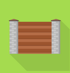 stone wood wall fence icon flat style vector image
