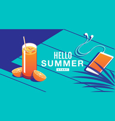 summer holiday poster cocktail banner vector image