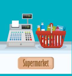Supermarket groceries in basket shopping vector