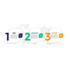Three steps modern number infographic template vector