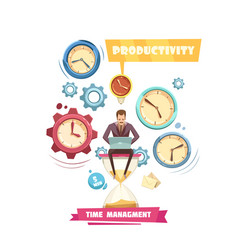 Time management retro cartoon concept vector