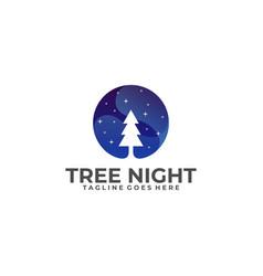 tree night template vector image