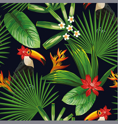 Tropical jungle fowers leaves toucan seamless vector
