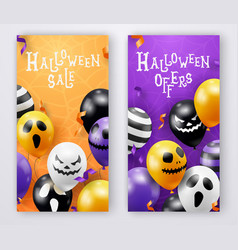 two halloween vertical banners with ghost balloons vector image