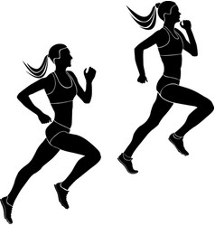 Two women athletes runners vector