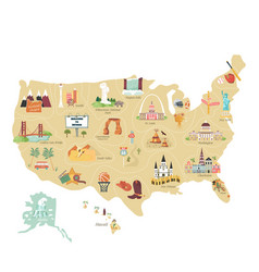 usa tourist map with famous landmarks vector image