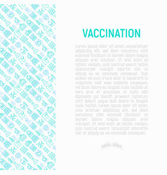 Vaccination concept with thin line icons vector