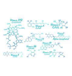 vitamin complex b1 b6 b9 b12 k a e c label and vector image