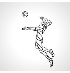 Volleyball attacker player outline silhouette Eps vector