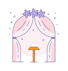 Wedding arch for ceremony line art icon vector