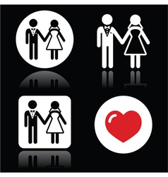 Wedding married couple white icon set on black vector image