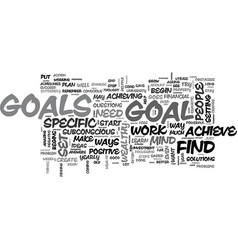 Why is it important to set goals text word cloud vector
