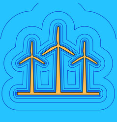 wind turbines sign sand color icon with vector image