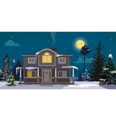 Winter landscape with big house and forest on vector