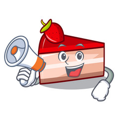 With megaphone strawberry cake character cartoon vector