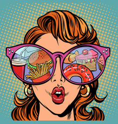 Woman with sunglasses fast food and sweets vector