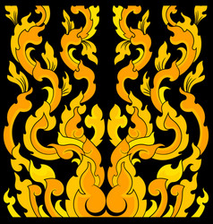 Yellow art pattern on a black vector