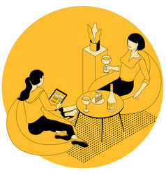 young women resting in a chair vector image