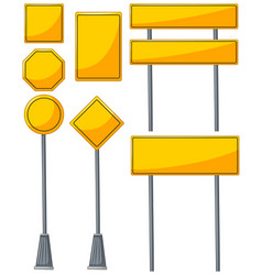 different designs of yellow signs vector image vector image