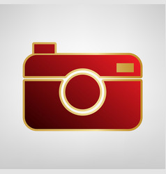digital photo camera sign red icon on vector image vector image