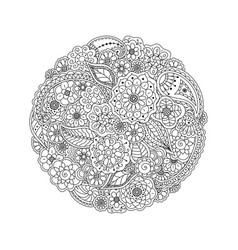 floral doodle round coloring page book for adults vector image vector image