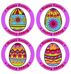 Happy Easter stickers with eggs vector image vector image