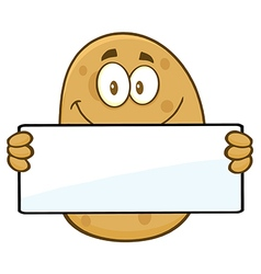 Potato Cartoon Holding Up Sign vector image vector image