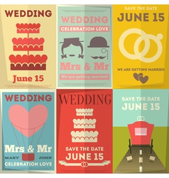 Wedding Posters Set vector image vector image