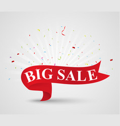 big sale banner with ribbon vector image