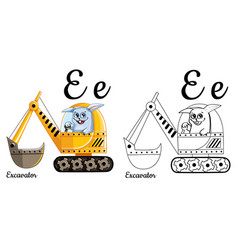excavator alphabet letter e coloring page vector image vector image
